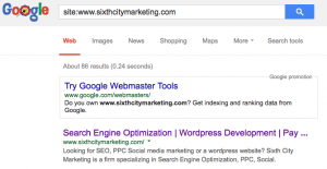 Google Site Index Search | Sixth City Marketing