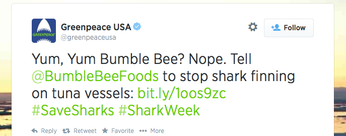 Greenpeace Shark Week Tweet