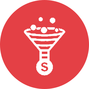 An icon of items entering a funnel