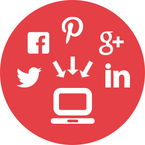 An icon of various social media platform logos pointing towards a computer