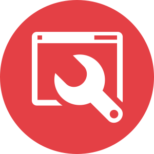 An icon of a wrench and a browser window