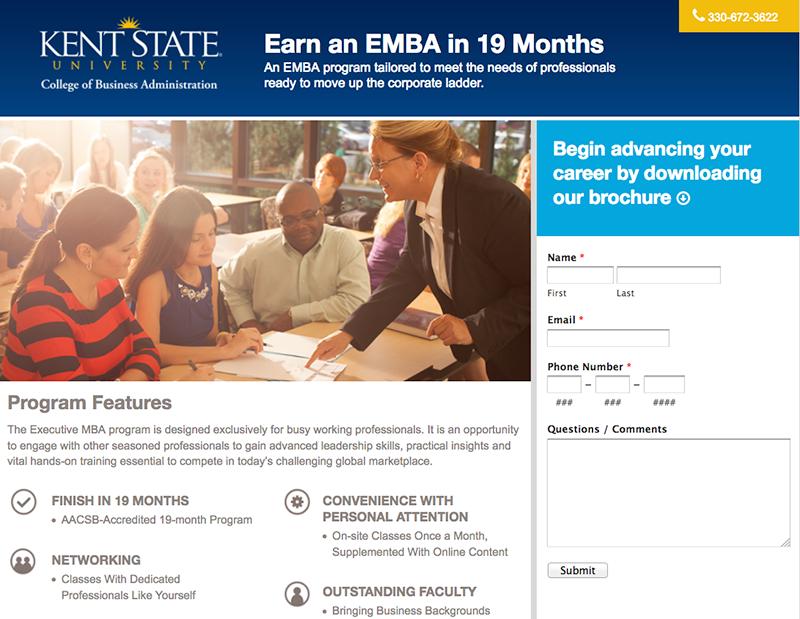 Kent State University - EMBA Landing Page