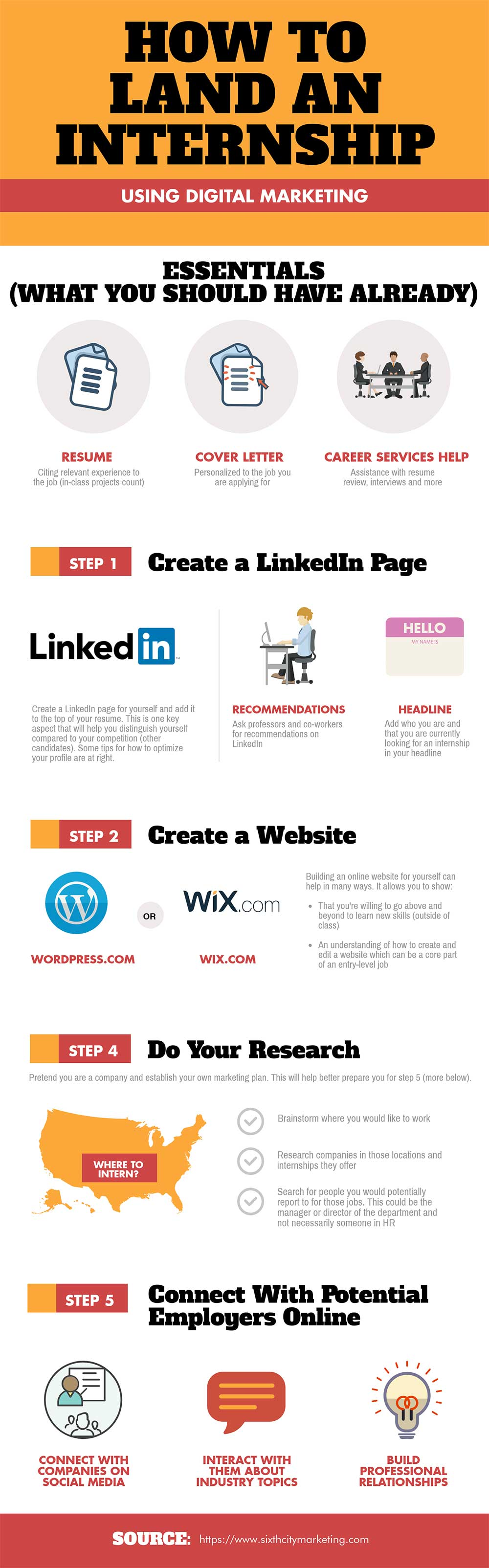 How To Land an Internship infographic