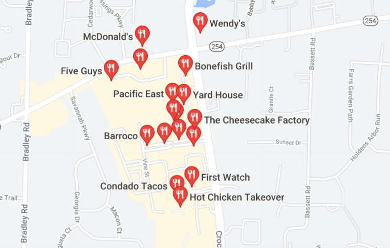 screenshot from Google maps showing various restaurants located in Westlake ohio