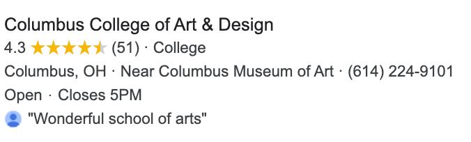 Columbus College of Art & Design Google My Business
